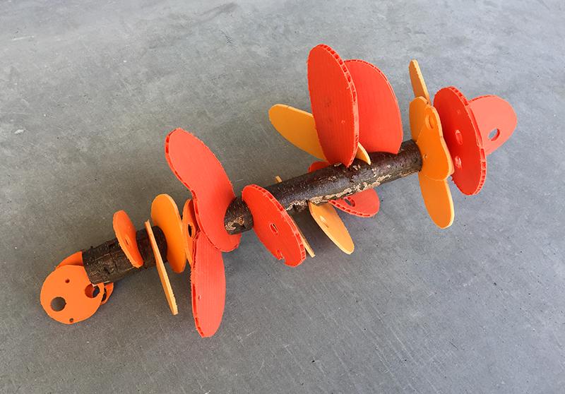 Disordered Shelf Fungus, 2016. Found branch, scrap PVC, scrap Coroplast. © Freedom Baird
